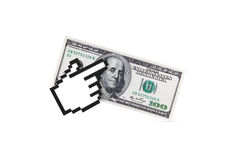 Hand Cursor on Dollar Banknote Stock Photography