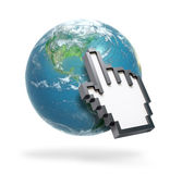 Hand cursor on Earth Stock Photo