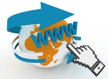 Hand cursor and earth globe Stock Photos