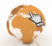 Hand cursor and earth globe Royalty Free Stock Image