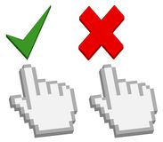 Hand cursor on good and bad button. 3d hand cursor on good and bad button - approved and rejected sign -  illustration Royalty Free Stock Photography