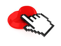 Hand Cursor and Heart Button Royalty Free Stock Photo