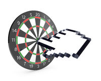 Hand cursor hits the dartboard Royalty Free Stock Image