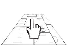 Hand cursor and house plan Royalty Free Stock Images