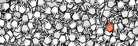 Hand cursor icon background, 3d render. Internet concepts Stock Images