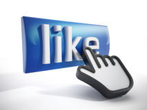 Hand cursor on like button Royalty Free Stock Images