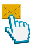 Hand cursor on mail button. 3d hand cursor on mail button -  illustration Royalty Free Stock Photography