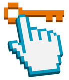 Hand cursor on pixelated key. 3d hand cursor on pixelated key -  illustration Stock Photography