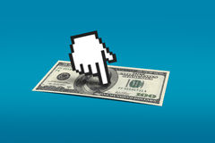 Hand Cursor Pointing Dollar Banknote Stock Photo