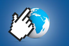 Hand Cursor Pointing Earth Map Globe Stock Image