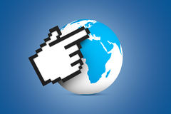 Hand Cursor Pointing Earth Map Globe Stock Photos