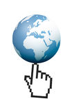 Hand Cursor Pointing Earth Map Globe Stock Images