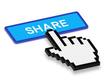 Hand Cursor Press Share Button Stock Image