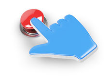 Hand cursor and red button. On white background. 3d rendered image Stock Image