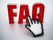 Hand cursor on red FAQ word Stock Image