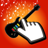 Hand cursor on rock guitar Royalty Free Stock Image