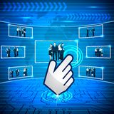 Hand Cursor selecting Business Team Stock Photos