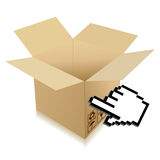 Hand Cursor and shipping box illustration Stock Images
