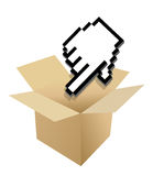 Hand Cursor and shipping box illustration Stock Photography