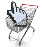 Hand cursor in shopping cart stock images