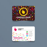Hand cursor sign icon. Hand pointer symbol. Business card template with confetti pieces. Hand cursor sign icon. Hand pointer symbol. Phone, web and location Stock Images