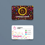 Hand cursor sign icon. Hand pointer symbol. Business card template with confetti pieces. Hand cursor sign icon. Hand pointer symbol. Phone, web and location Royalty Free Stock Photo