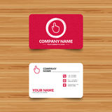 Hand cursor sign icon. Hand pointer symbol. Business card template with texture. Hand cursor sign icon. Hand pointer symbol. Phone, web and location icons Royalty Free Stock Photography