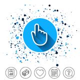 Hand cursor sign icon. Hand pointer symbol. Button on circles background. Hand cursor sign icon. Hand pointer symbol. Calendar line icon. And more line signs Stock Image