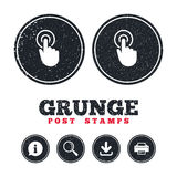 Hand cursor sign icon. Hand pointer symbol. Grunge post stamps. Hand cursor sign icon. Hand pointer symbol. Information, download and printer signs. Aged Stock Image