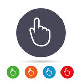 Hand cursor sign icon. Hand pointer symbol. Round colourful buttons with flat icons. Vector Stock Images