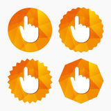 Hand cursor sign icon. Hand pointer symbol. Triangular low poly buttons with flat icon. Vector Stock Image