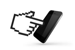 Hand Cursor with Smart Phone Royalty Free Stock Images