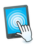 Hand cursor and tablet pc. With touchscreen Royalty Free Stock Photo