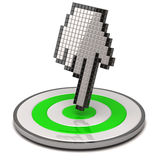 Hand cursor and target Stock Images