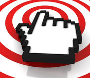 Hand cursor on target Stock Photography