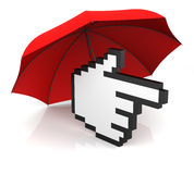 Hand Cursor with Umbrella Royalty Free Stock Photos