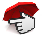 Hand Cursor with Umbrella Stock Photos