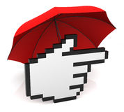 Hand Cursor with Umbrella Royalty Free Stock Image