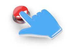 Hand-Cursor und roter Knopf Stockbild