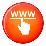 Hand cursor and website icon, flat style Stock Images