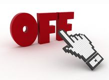Hand cursor on the word off. Royalty Free Stock Photography