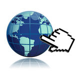 Hand Cursor And World globe illustration Royalty Free Stock Images