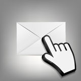 Hand Cursor wth Envelope Vector Illustration Stock Photos
