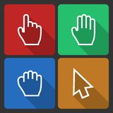 Hand Cursors Icons with Long Shadow Stock Photo