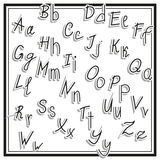 Hand cut vector alphabet sticker set white color, school font, vintage Stock Image