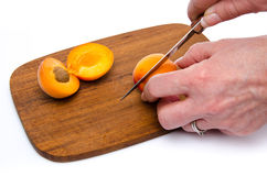 Hand cutting an apricot in half Stock Images