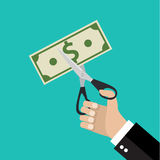 Hand cutting money bill in half with scissors. Businessman Hands holding scissors and cutting money bill. Reducing cost concept. vector illustration in flat Royalty Free Stock Photo