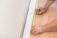 Hand cutting plaster boards Stock Photos