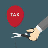 Hand Cutting Tax Balloon with Scissor Illustration. People Holding Scissor and Cutting the Balloon with Tax sign Stock Image