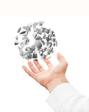 Hand and 3d explosion sphere fragments  Royalty Free Stock Image